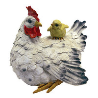Barnyard Mother Hen and Baby Chick Statue - QM12506                       - Design Toscano