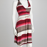 Fuchsia & Gray Stripe Halter Dress
