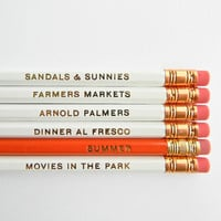Summertime Pencils- White, Orange, &amp; Gold, Set of 6