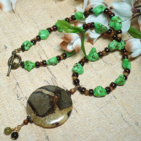 Septarian Pendant and Green Turquoise 18 inch Gemstone Necklace