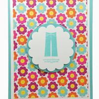 Graduation Smarty Pants Handmade Card With Floral Patterns