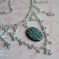 Blue Lagoon Keyhole Choker Czech Glass Painted MoP Oval Pendant