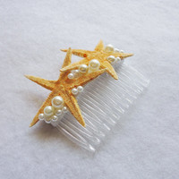 Wedding Bridal Natural Starfish and Faux Pearls Comb