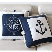Mediterranean style of canvas printing embroidery needle pillow sea anchor guide