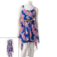 Candie's Hi-Low Chiffon Floral Dress