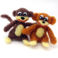 Felt Animals Monkeys two cute needle felted MONKEY by drudruchu
