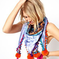 ASOS Tie Dye Pom Scarf at asos.com