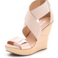 Diane von Furstenberg Opal Lacquered Wedge Sandals | SHOPBOP