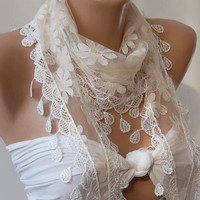 Elegance  Shawl / Scarf with Lacy Edge