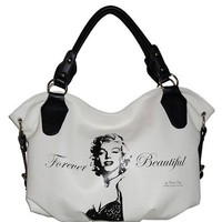 White Faux Leather Marilyn Monroe Iconolized Shopper Bag