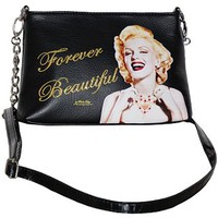 Black Faux Leather Marilyn Monroe Iconolized Messenger Clutch