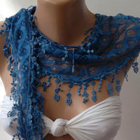 Lace scarf - Perfect  Accesory - Like a jewelry - Fantastic blue  Scarf  Mothers Day gift