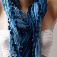 Elegant scarf Cotton scarf blue scarf Batik scarf pompom