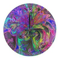 Glowing Burst of Color  Abstract Teal Violet Deva Wall Clock from Zazzle.com