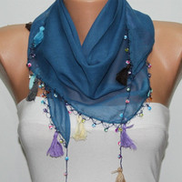 Blue Scarf ,Cotton Scarf  Woman  Cowl with Lace Edge -
