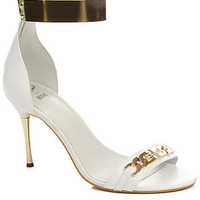 Jeffrey Campbell Shoe Malice Suede Heels in White and Gold