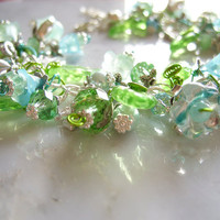 Azore Amore Spring Blossom Green and Blue Flower Fairy Bracelet