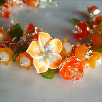 Orange Opal Blossom Flower Fairy Bracelet