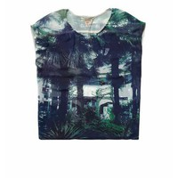 Sheer summer top with palm tree print