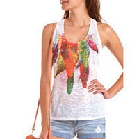 Feather Graphic Burnout Tank: Charlotte Russe