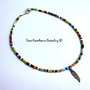 Feather Anklet - Beaded Anklet - Multicolor Anklet - Rainbow Anklet - Seed Bead Anklet - Boho - Tribal - Gift For Her - Ankle Bracelet