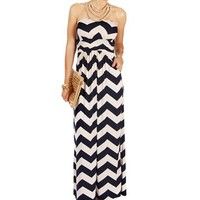 Pre-OrderNavyWhite Strapless Chevron Maxi Dress