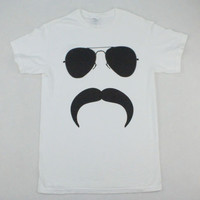 Aviator Mustache White T-Shirt - Men's Small