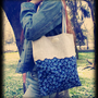 Tote Linen Blueberries Blue Bag, Berries Kawaii Canvas Shopper Bag