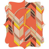 DENY Designs Home Accessories | Gabi Chevron Coral Quatrefoil Clock