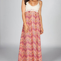 FIRE Crochet Printed Maxi Dress
