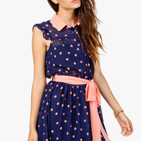 Scallop Collar Dotty Shirtdress