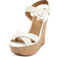 Woven X-Front Jute Wedge Sandal: Charlotte Russe