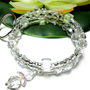 Keychain Bracelet Wristlet Crystal Memory Wire with Angel Id Holder