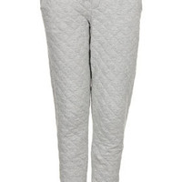 Soft Grey Quilted Joggers - Pants  - Clothing