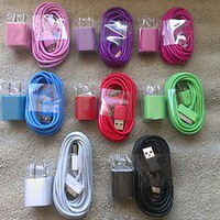 USB Wall Power Adapter+Charging Cable Cord iPhone 3G 3GS 4 4S iPod Nano Shuffle