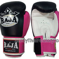RAJA Muay Thai gloves (Velcro)- Black/White/PINK [RJ-G-015-F] - Low prices on thai boxing Gloves