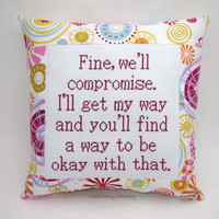 Funny Cross Stitch Pillow, Pink And Orange Pillow, Stubborn Quote