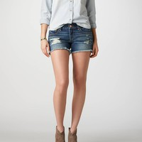 AE Destroyed Denim Midi Short | American Eagle Outfitters