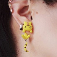 Sleepy Tigger 3D Fimo Clay Ear Stud (Single) | LilyFair Jewelry