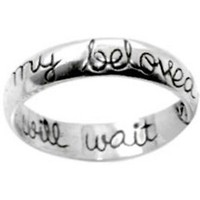 "Christian Women's Abstinence 0.925 Sterling Silver 5mm Cursive ""I Will Wait for My Beloved"" Purity Ring - Girls Chastity Ring"
