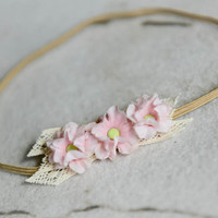 Pink Flower Buds Headband, Flower and Lace Headband, Baby Hair Accessory, Baby Photo Prop, made by Maria Sunshine