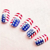 American Us National Flag 24 Nail Tips Acrylic Usa Stars & Stripe False Nail