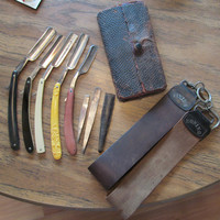 Antique straight razors, 5 razors & more, collectibles
