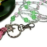 Lanyard Id Badge Beach Glass Crystal Pink Peridot Flip Flop Necklace