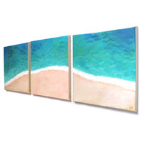 Home and Office Art, TROPICAL SHORELINE No.4, Set of 3 12x12 Acryic Canvas, Beach Themed Decor