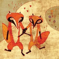 foxes in love by schalle on Etsy