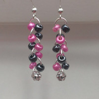 FREE SHIPPING Pink/Metallic Black Glass Beaded Dangle Earrings with Flower Bead