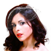 Vintage Gray Brown Fascinator & Feather Hat - 1950s Veil Netting Fashion Accessory / Earth Tones