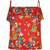 FULL TILT Floral Ruffle Girls Top