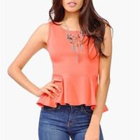 Waldorf Peplum Top - Coral at Necessary Clothing